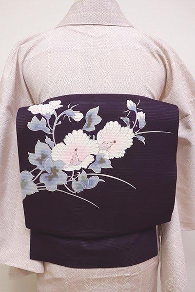 銀座【K-6055】絽塩瀬 染名古屋帯 深紫色 木槿の図