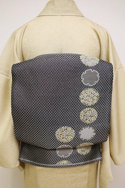 銀座【L-4477】紗 袋帯 黒色 雪輪文