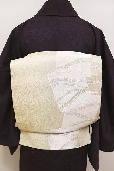 銀座【L-4478】西陣 まいづる製 紗 袋帯 鳥の子色 竪暈かしに色紙文(証紙付・未使用)