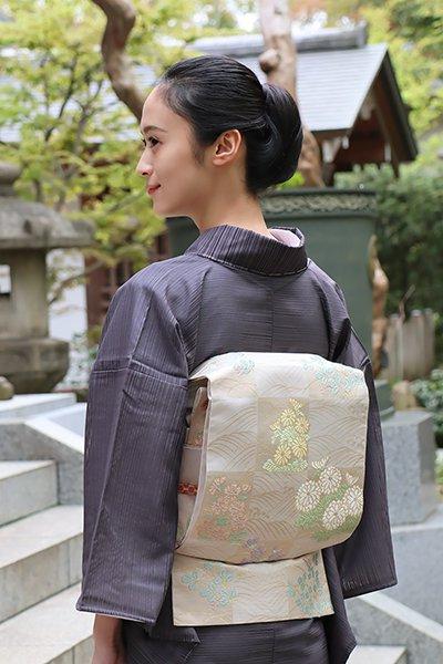 銀座【帯3006】西陣 川島織物製 絽袋帯 白色 市松に秋草文