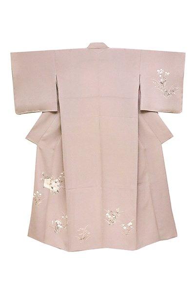 銀座【着物2465】単衣付下げ 淡い梅鼠色 虫籠に秋草の図