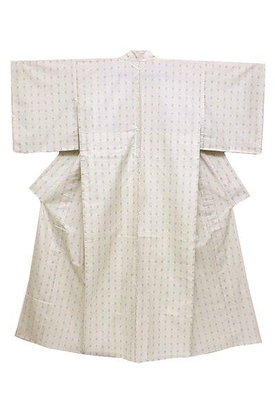 銀座【着物2468】単衣 本場奄美大島紬 白色 幾何絣 (証紙付・しつけ付)