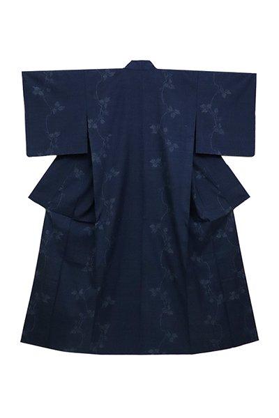 銀座【着物2471】単衣 本場結城紬 濃藍色 蔓花文