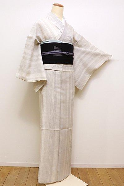 銀座【A-2813】紗紬 練色 絣の縞文