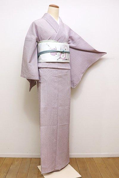 銀座【A-2814】単衣 繍一ッ紋 御召 白藤色 細縞