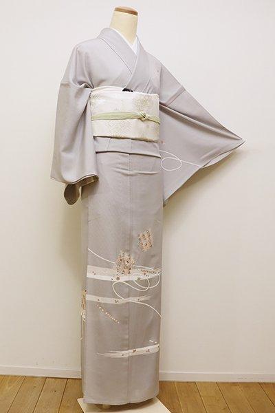 銀座【B-2212】←ユッタリ→紋紗 付下げ 白鼠色 源氏香や笛の図