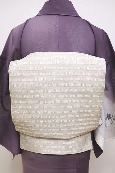 銀座【L-4479】絽 袋帯 白練色 幾何文