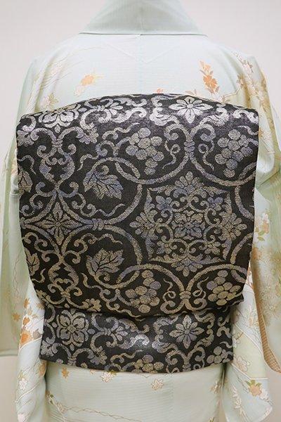 銀座【L-4480】西陣製 夏 袋帯 黒色 葡萄唐草文(反端付・新品)