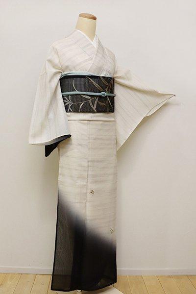 銀座【B-2214】紋紗 付下げ 象牙色 柳に蜻蛉 (しつけ付)