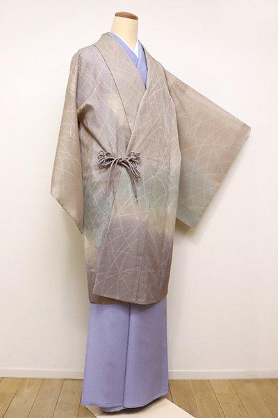 銀座【E-1057】紋紗 道中着 白茶色 裾暈かし