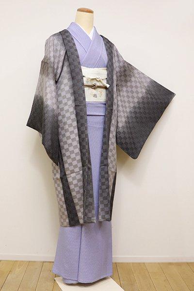 銀座【E-1060】紗 羽織 墨色×潤色 竪暈かしに市松文