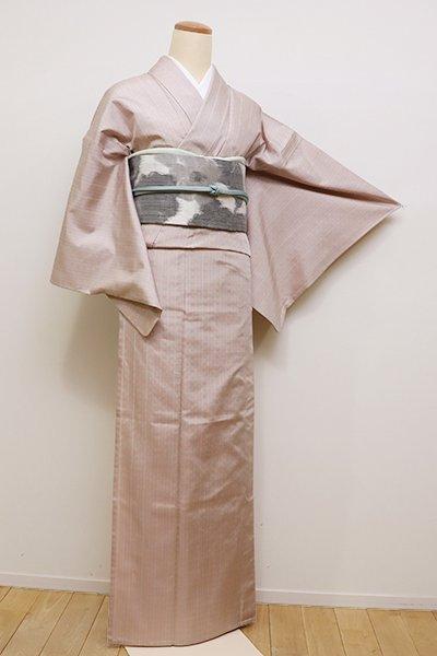 銀座【A-2816】単衣 上田紬 天蚕糸 薄柿色 花織 (反端付)