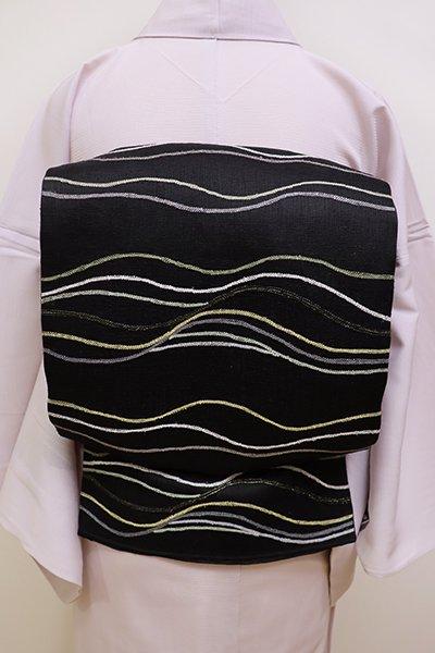 銀座【L-4485】夏櫛織地 袋帯 黒色 揺らぎのある横段