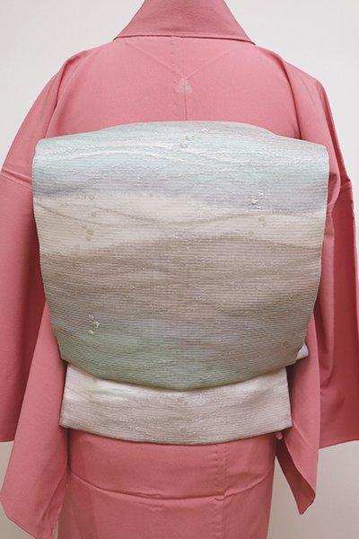 銀座【L-4486】西陣 洛陽織物製 紗 袋帯 青磁鼠色 流線暈かし   (証紙付)