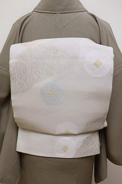 銀座【L-4487】絽 袋帯 白色 道長取り有職文