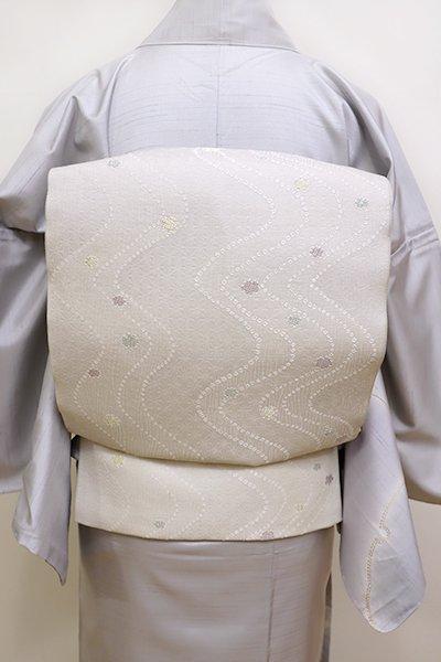 銀座【L-4488】西陣製 夏袋帯 絹鼠色 流線に雪輪文(証紙付)