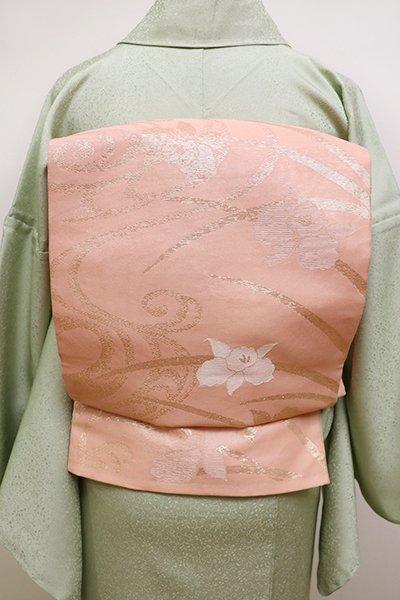 銀座【L-4489】夏 袋帯 一斤染色 流水に菖蒲の図