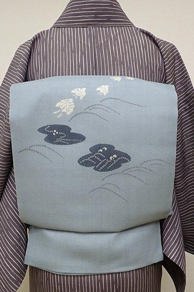 銀座【K-6062】紗紬 染名古屋帯 暗い秘色色 波千鳥の図