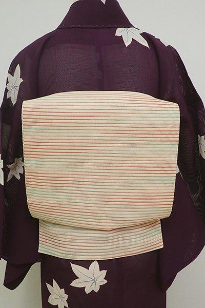 WEB限定【K-6066】絽 織八寸名古屋帯 薄卵色 多彩な横段