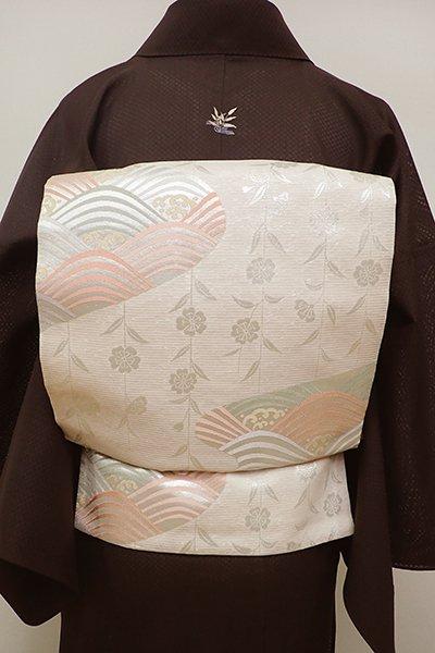 銀座【L-4490】絽 袋帯 淡い一斤染色 波に枝垂れ桜の図