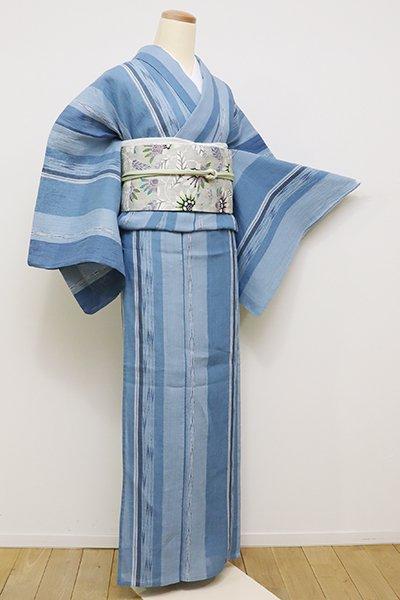 銀座【A-2817】小千谷縮 藍色濃淡 絣縞(反端付)