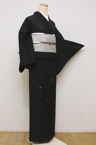銀座【B-2219】絽 付下げ 黒色 蛍の図