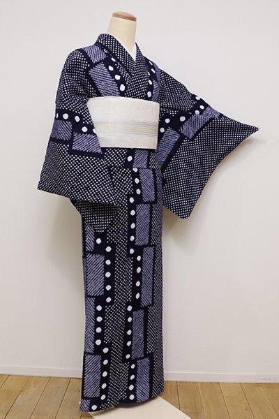 銀座【D-2229】絞り 浴衣 濃藍色 幾何文
