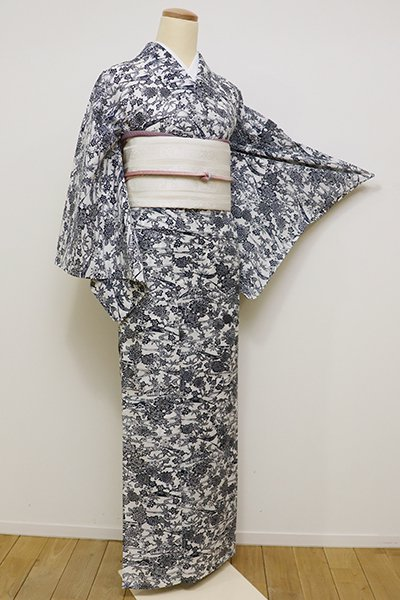 銀座【D-2230】紋紗 小紋 白色×濃藍色 茶屋辻文(しつけ付)