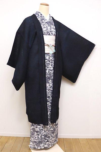 あおき【E-1062】紋紗 羽織 黒色×褐返色 靄暈かし(しつけ付)