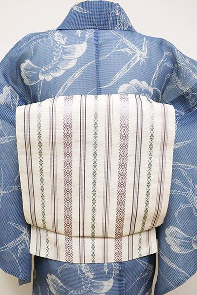 銀座【K-6067】本場筑前博多織 紗献上 八寸名古屋帯 練色(証紙付)