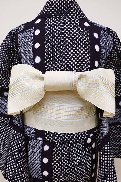銀座【K-6068】博多織 紗 半幅帯 象牙色 縞(未使用)