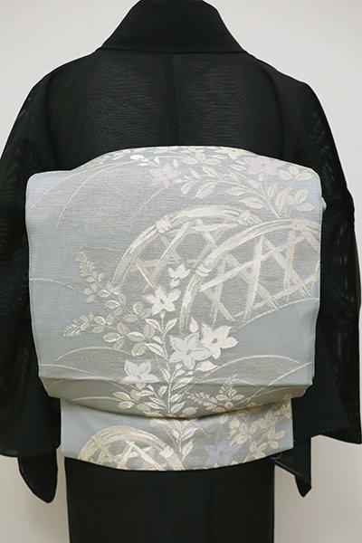 銀座【L-4492】絽 袋帯 灰青色 蛇籠に秋草の図