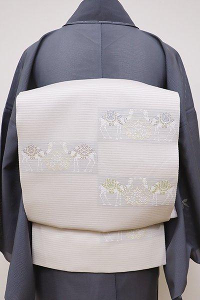 銀座【L-4493】絽 袋帯 素色 段に駱駝の図