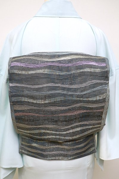 あおき【L-4494】絽 袋帯 藍墨茶色 波のような横段