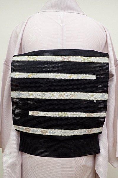 銀座【K-6071】絽綴れ 八寸名古屋帯 黒色 装飾文の横段