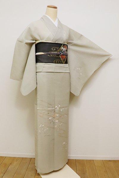 銀座【B-2223】(L) (細め)紗紬 訪問着 絹鼠色 流水に秋草の図(しつけ付)