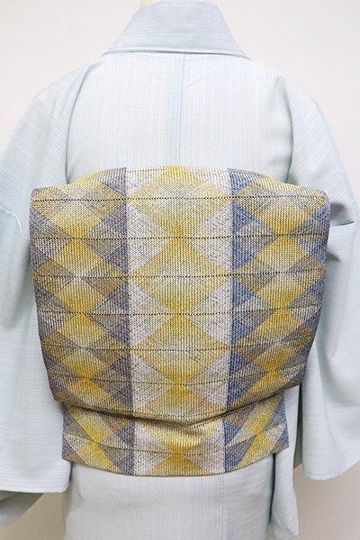 銀座【K-6072】夏 組織り 八寸名古屋帯 鼠色×舛花色×金色 幾何文