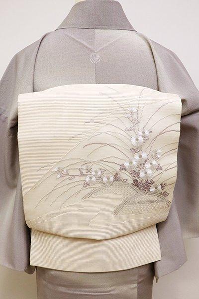 銀座【L-4496】絽 刺繍 袋帯 鳥の子色 垣根に秋草の図