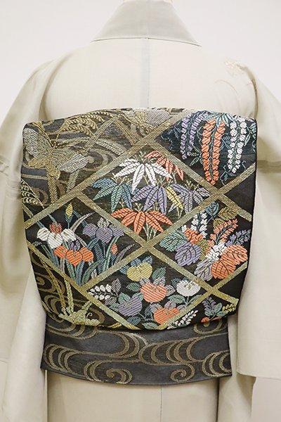 銀座【L-4498】紗 本袋帯 黒色 四季花や蝶々の図