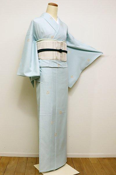 銀座【D-2236】きもの英製 絽 小紋 白藍色 装飾丸文