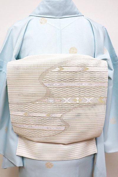 銀座【K-6077】絽綴れ 八寸名古屋帯 生成り色 流線に装飾文