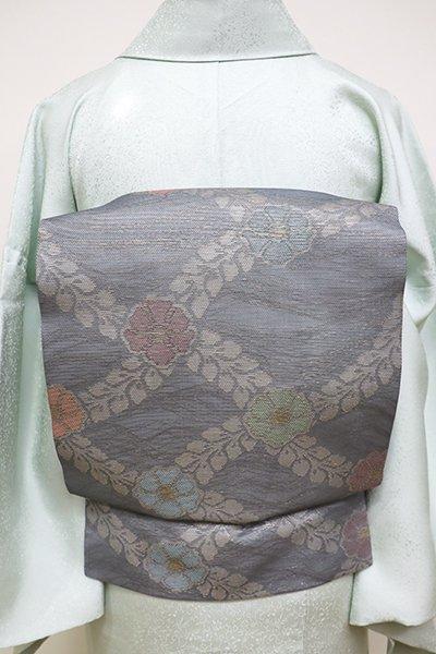 あおき【K-6078】紗 織名古屋帯 錫色 花襷文