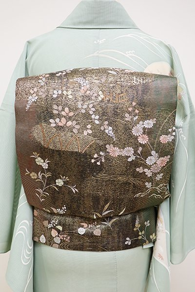 銀座【L-4501】夏 袋帯 黒色×金色 茶屋辻文