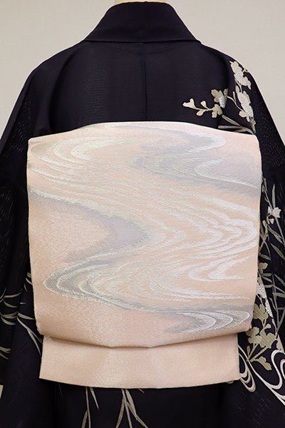 銀座【L-4502】紗 袋帯 淡い一斤染色 流水の図