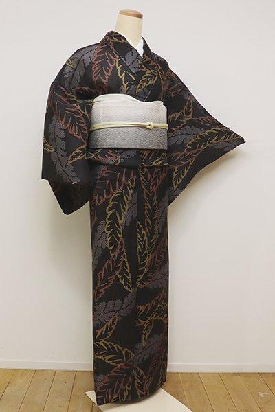 銀座【D-2239】紗紬 小紋 墨色 芭蕉の図(しつけ付)