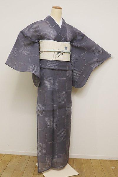 あおき【D-2240】(L・広め)紗紬 絞り染め 小紋 薄鼠色 石畳文(東武扱い)