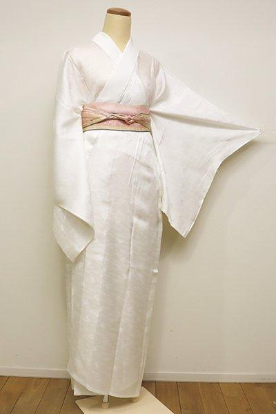 銀座【F-377】紋紗 長襦袢 白色 兎の地紋(しつけ付)