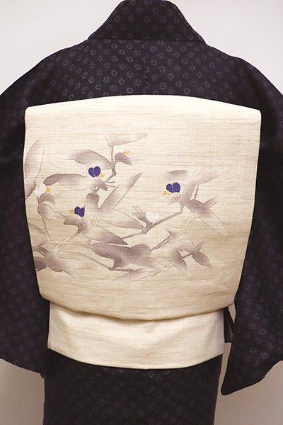 銀座【K-6080】麻地 染名古屋帯 鳥の子色 露草の図