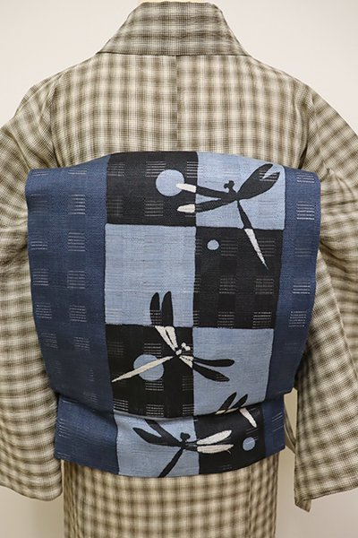 銀座【K-6082】絽麻地 染名古屋帯 暗い紺鼠色 市松に蜻蛉の図(N)