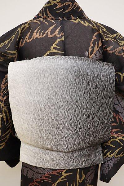 銀座【L-4504】夏 洒落袋帯 白色×墨色 竪暈かし
